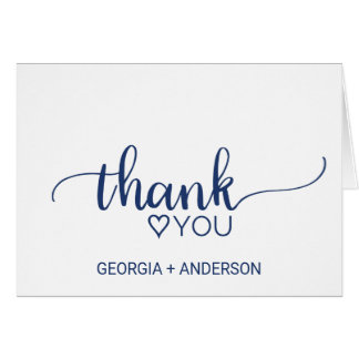 Navy Blue Simple Calligraphy Wedding Thank You Card