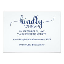 Navy Blue Simple Calligraphy Wedding Website RSVP Invitation
