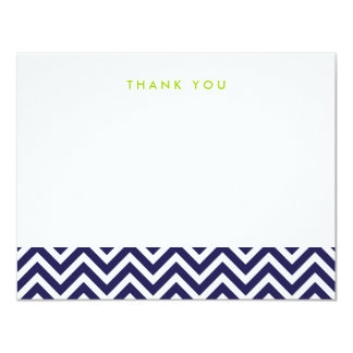 Navy Blue Simple Chevron Thank You Note Cards