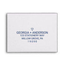 Navy Blue Simple Heart Printed Address RSVP Envelope