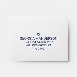 Navy Blue Simple Heart Printed Address RSVP Envelope