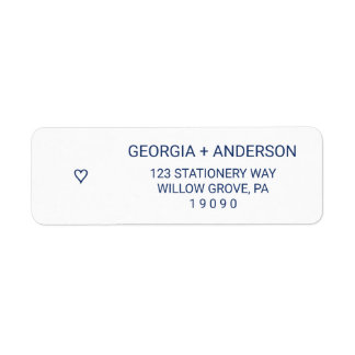 Navy Blue Simple Heart Wedding Label