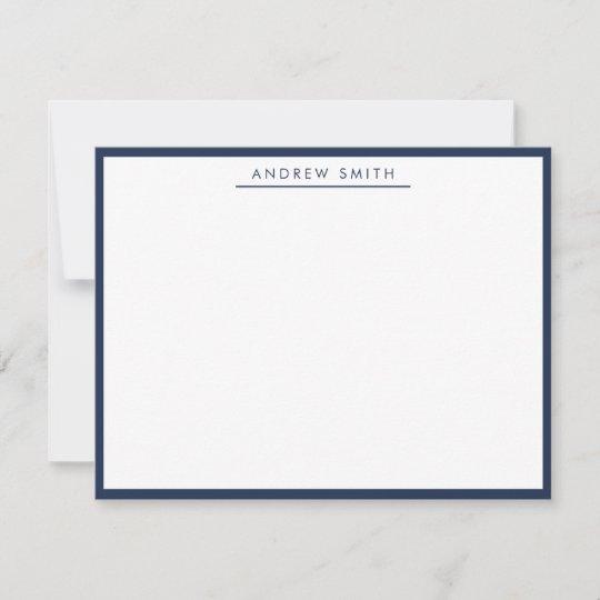 Navy Blue Simple Line Modern Classic Minimalist Note Card