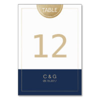 Navy blue simple modern wedding table number