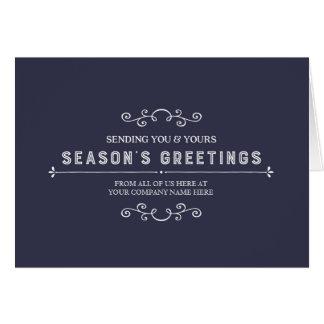 Navy Blue Simple Vintage Corporate Christmas Card