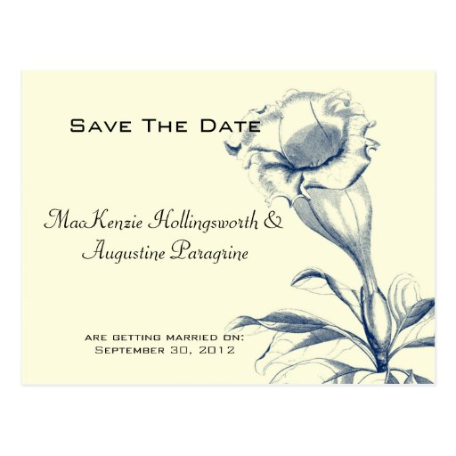 Navy Blue Sketched Flower Save The Date Postcard