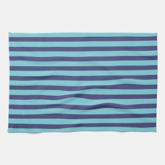 Navy Blue & Sky Blue Stripes Hand Towel