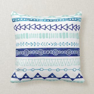 Navy Blue Sky Blue Watercolor Tribal Pillow