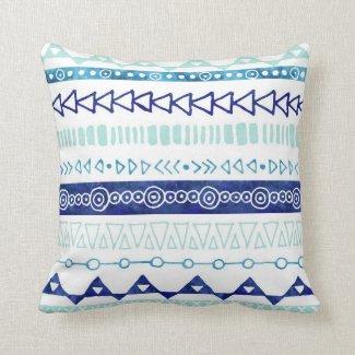 Navy Blue Sky Blue Watercolor Tribal Pillow