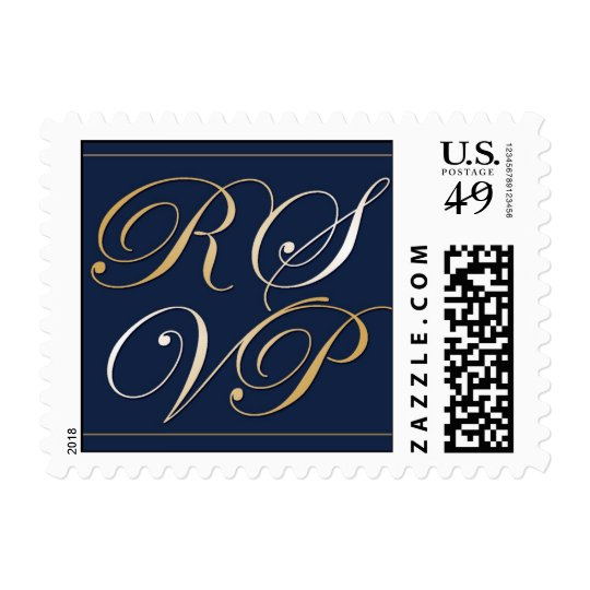 Navy Blue Small RSVP Postage Stamp