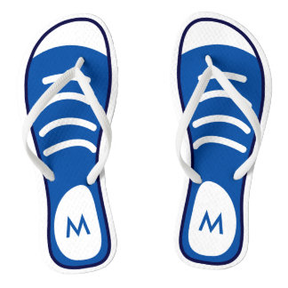Navy Blue Sneaker Shoes Cool Funny Look Monogram Flip Flops