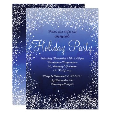 Professional Business Navy blue snow watercolor corporate holiday card