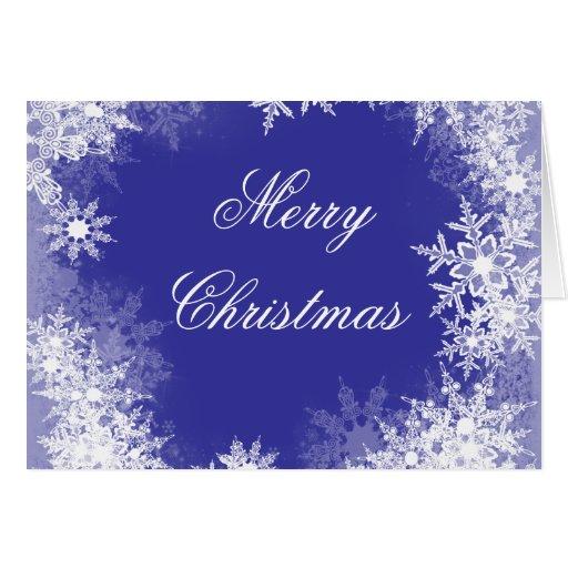 Navy Blue Snowflake Christmas Cards