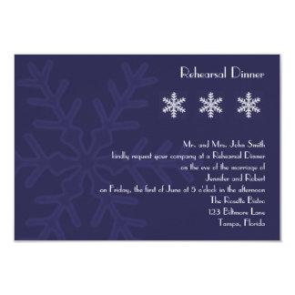 Navy Blue Snowflake Wedding Rehearsal Dinner Card