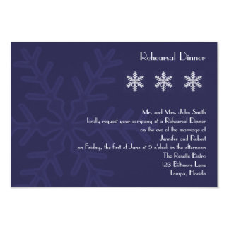 Navy Blue Snowflake Wedding Rehearsal Dinner Custom Announcements