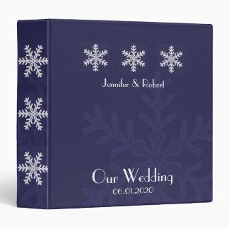 Navy Blue Snowflake Winter Wedding Binder