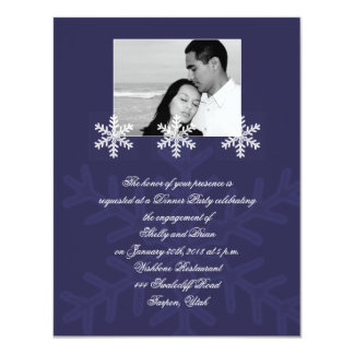 Navy Blue Snowflake Winter Wedding Engagement Personalized Invitations