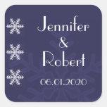 Navy Blue Snowflake Winter Wedding Envelope Seal Stickers