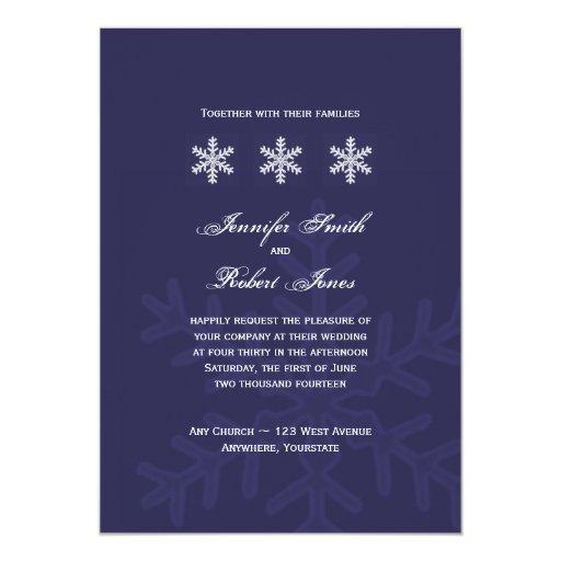 Navy Blue Snowflake Winter Wedding Invitation