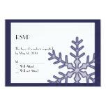 Navy Blue Snowflake Winter Wedding Response Card Custom Invites