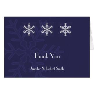 Navy Blue Snowflake Winter Wedding Thank You Card