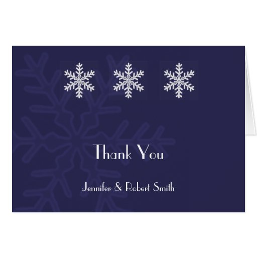 Navy Blue Snowflake Winter Wedding Thank You Greeting Cards