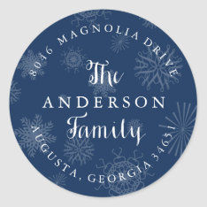 Navy Blue Snowflakes Christmas Address Label at Zazzle