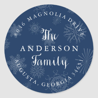 Navy Blue Snowflakes Christmas Address Label