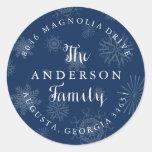 Navy Blue Snowflakes Christmas Address Label Classic Round Sticker