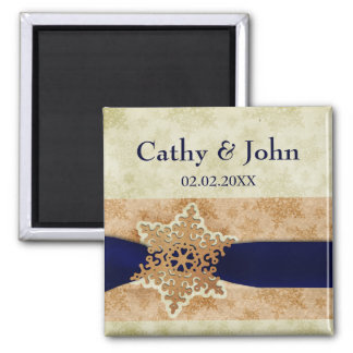"""navy blue"" snowflakes save the date magnets"