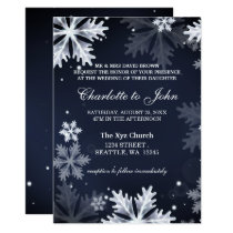 Navy Blue snowflakes winter wedding invitation