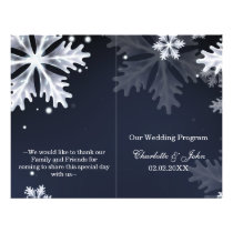 navy blue snowflakes winter wedding program