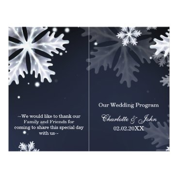 navy blue snowflakes winter wedding program
