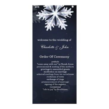 navy blue snowflakes winter wedding programs