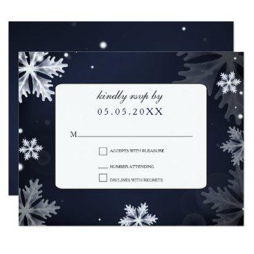 Navy Blue snowflakes winter wedding rsvp Card