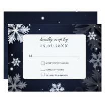 Navy Blue snowflakes winter wedding rsvp Card