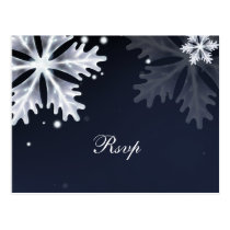 Navy Blue snowflakes winter wedding rsvp Postcard