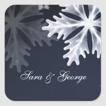 navy blue snowflakes winter wedding stickers