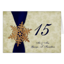 """navy blue snowflakes winter wedding table seating card"