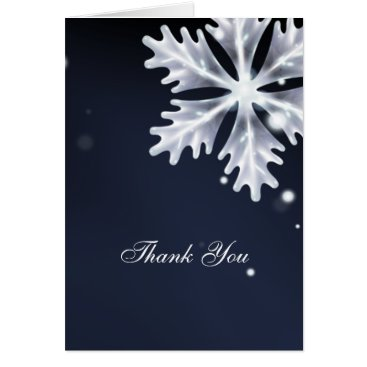 navy blue snowflakes winter wedding Thank You Card