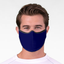 Navy Blue Solid Color Customize It COVID19 Premium Face Mask