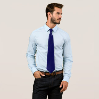 Navy Blue Solid Color Customize It Neck Tie