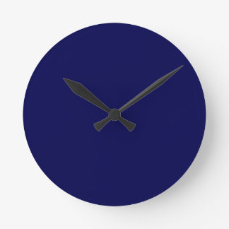 Navy Blue Solid Color Customize It Round Clock