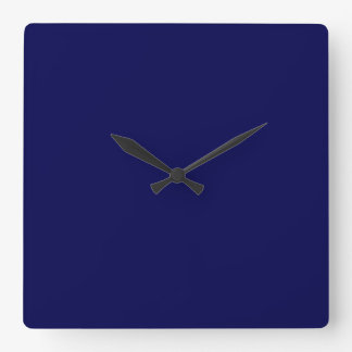 Navy Blue Solid Color Customize It Square Wall Clock
