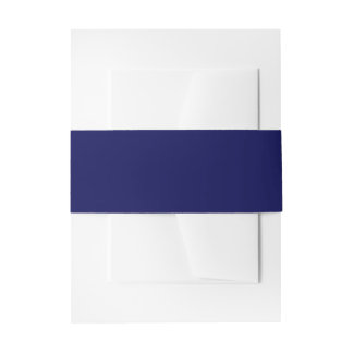 Navy Blue Solid Color Invitation Belly Band