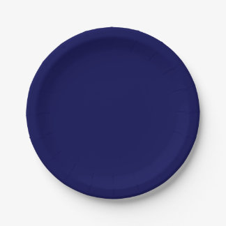 Navy Blue Solid Color Paper Plate