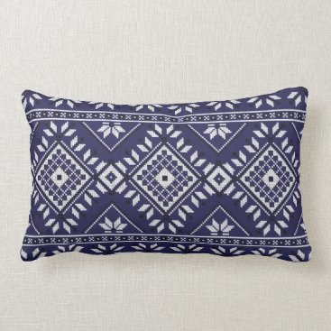 Aztec Themed Navy Blue Southwest Native Tribal Aztec Pattern Lumbar Pillow