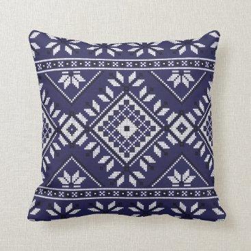 Aztec Themed Navy Blue Southwest Native Tribal Aztec Pattern Throw Pillow