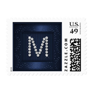 Navy Blue Sparkle and Shimmer w Monogram Initial Postage