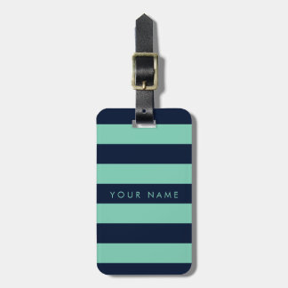 Navy Blue & Spearmint Striped Personalized Tag For Luggage